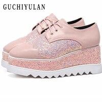 Весенняя женская обувь на плоской подошве кроссовки на платформе обувь Кожа увеличилась повседневная обувь без шнуровки на плоской подошв