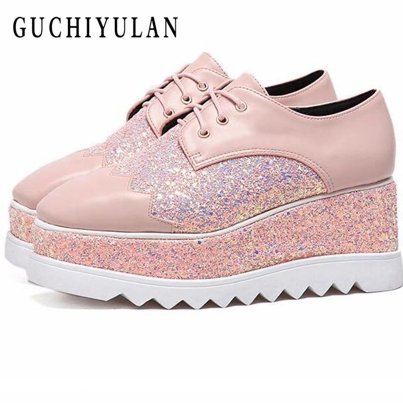 Printemps femmes appartements chaussures plate-forme sneakers chaussures en cuir Augmenté dans chaussures de sport glissement sur appartements talons creepers mocassins