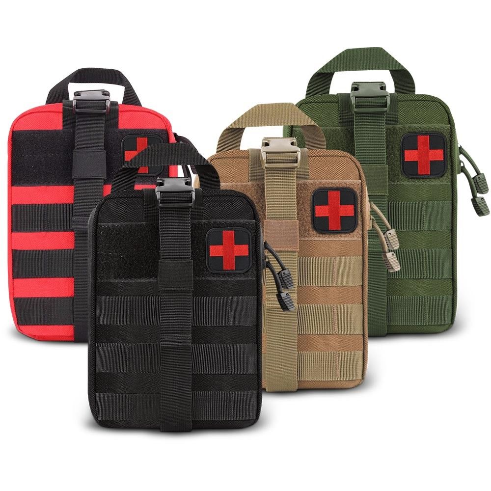 Kit de primeros auxilios de agua al aire libre viaje Oxford paño táctico cintura Pack Camping escalada bolsa negro caso de emergencia