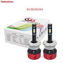 2 * D1S D1R D2S D2R D2C D1C D3C D3S D3R D4S D4R D4C Lâmpadas dos faróis LED Kit De Conversão de 55 W 9000LM LED Car Lâmpada 6000 K Cristal branco