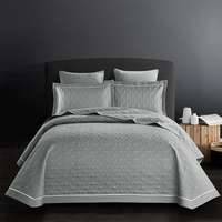 100% Cotton European 3D Quilted Bed Spread Coverlet Sets Tatami Mat Bed Sheet Pillowcases Sofa cover 245*250cm size 3Pcs