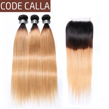 Code Calla Brown Straight Bundles With 4*4 Lace Closure Ombre Color Indian Raw Virgin Human Hair Weft Extension Free Shipping