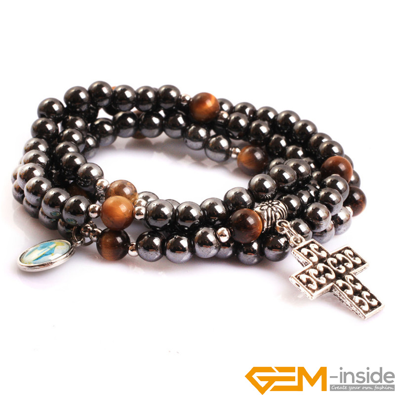 6mm 8mm Hematite Magnetic & Tiger Eye Stone Beads Therapy Healing Stone Cross Bracelet Catholic Prayer Rosary Bracelet for Men