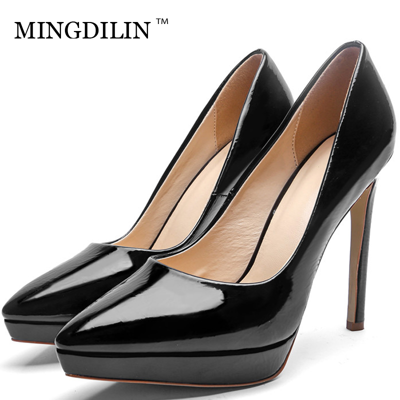 MINGDILIN Sexy Women's Bridal Shoes Woman Golden Silver High Heels Shoes Plus Size Pointed Toe Wedding Party Pumps Stiletto 2018 цена