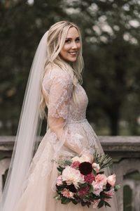 Image 4 - Платье Свадебное ТРАПЕЦИЕВИДНОЕ с V образным вырезом, мягкое Тюлевое с длинными рукавами, кружевной аппликацией, с поясом с бусинами, с открытой спиной и шлейфом, свадебное платье