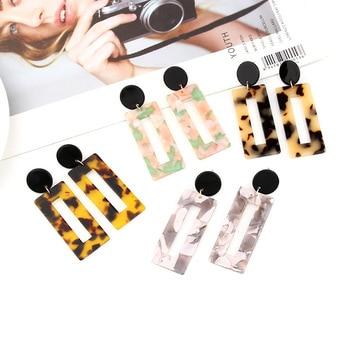 2019 New Fashion Leopard Grain Multi-Color Big Hook Acrylic Earrings Special Design Semicircle Resin Drop Earring 3
