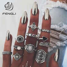 FENGLI Ethnic Arrow Geometric Crystal Rings Set Vintage Knuckle Statement Ring for Womens Engagement Jewelry