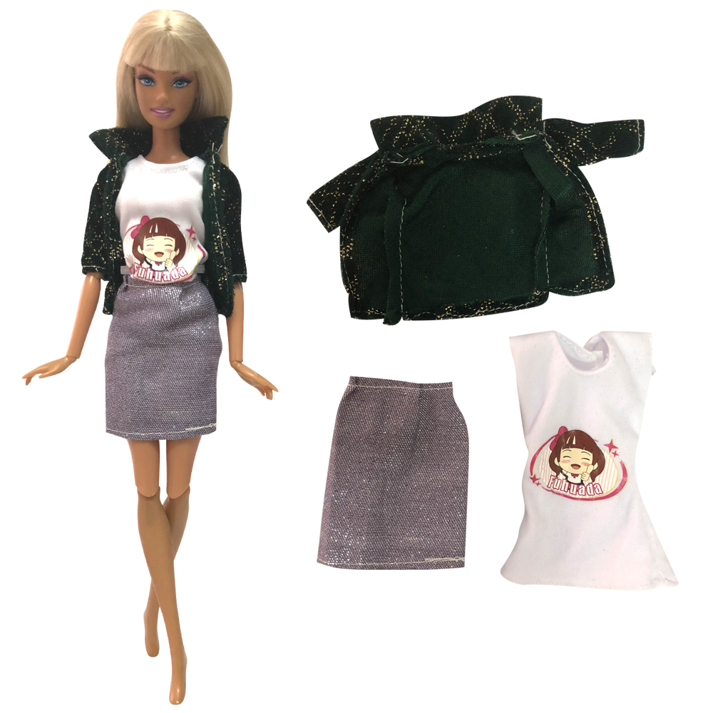 NK One Pcs Doll Aristocratic Casual Denim Suit Handmade Autumn Clothes Top Fashion Set For Barbie Doll Accessories Toys Gifts43A
