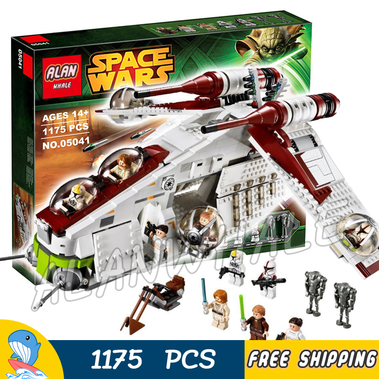 1175pcs Space Wars Republic Gunship Fighter Battle Spaceship 05041 Model Building Blocks Toys Bricks Games Compatible With Lego 2015 high quality spaceship building blocks compatible with lego star war ship fighter scale model bricks toys christmas gift
