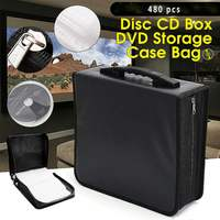 480 pieces PU Box leather Portable CD DVD Organizer Wallet Case Water Resistant portable large capacity Collect Storage CD bag