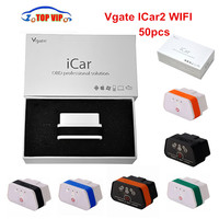 50pcs/lot Best Price Vgate iCar2 WiFi Vgate iCar 2 WiFi ELM 327 V1.5 OBD2 Auto Scanner Diagnostic-Tool For iOS/Android PC DHL
