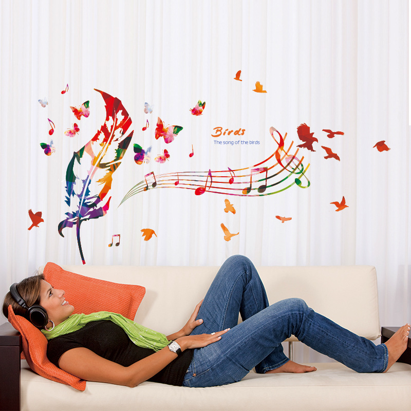 Colorful feather music note butterfly wall mural poster the song of the birds wall stickers quote removable pvc wall decals in wall stickers from home