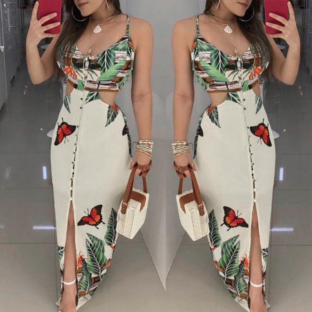 2019 Women Sex Hollow Out Butterfly Printed Long Dresses Women Fashion Clubwear Strap Bodycon Printed Beach Sundress Vestidos