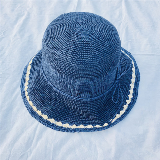Women Straw Hats For Summer Beading Flat Brimmed Straw Shading Collapsible Sun  Hat Lady Fashion Beach 745b08b106b8