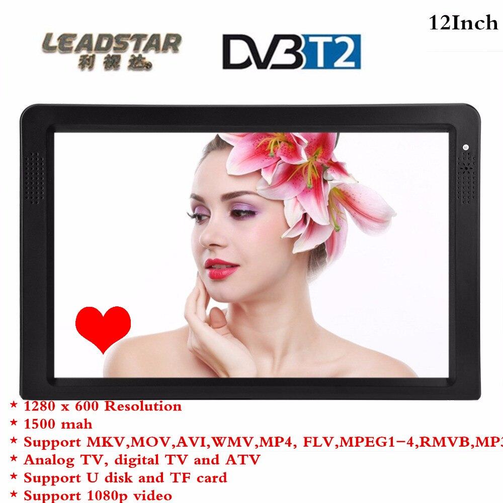 LEADSTAR Портативный 12 дюймов ТВ DVB-T-T2 16:9 телевидения Цифровой HDMI 1080 P ТВ TFT светодиодный видео плеер ...