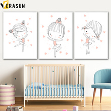 Kawaii ballet Dancing Girl Nursery Prints Wall Art Canvas Painting Nordic Posters And Prints Wall Pictures Baby Kids Room Decor цена и фото