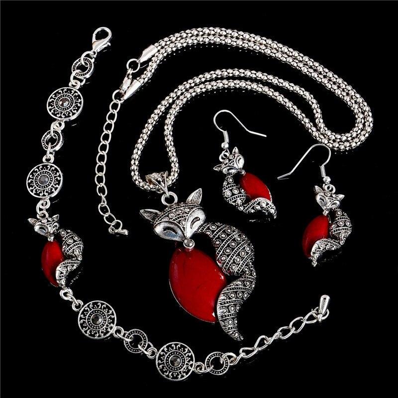 SHUANGR 2017 Wholesale Cute Animal Sexy Fox Red Green Jewelry Set Women Necklace Earrings Bracelet Wedding Jewelry Set