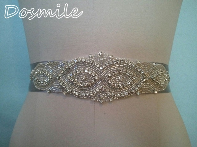 Silver wedding belt crystal bridal band with beads rhinestone blings sparkles haute couture satin sash