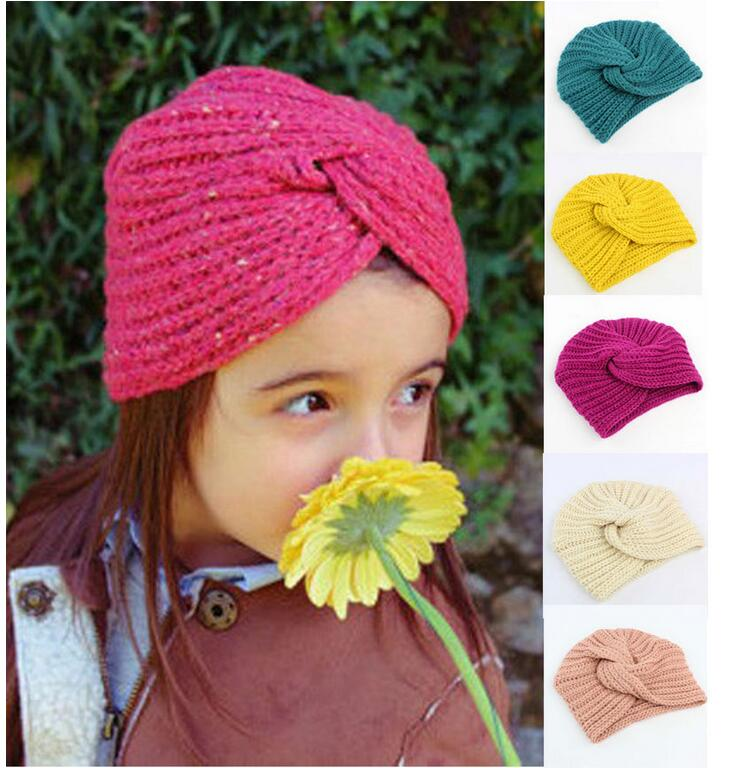 цены  new arrival girls warm hats india hat kids winter beanie hats baby knitted caps turban hats for girls