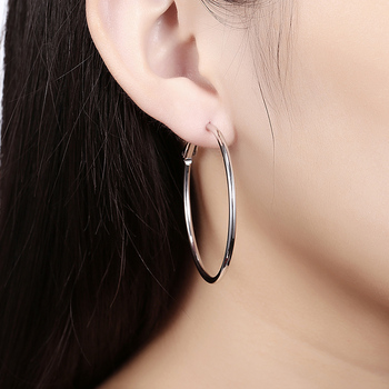 925 Silver Creole Circle Hoop Earrings For Women Christmas Earring Jewelry 3
