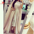 Myriam Fares Celebrity Dresses 2016 Two Piece Set Sheath Tea Length Chiffon Dress with Cape and Tassel Belt
