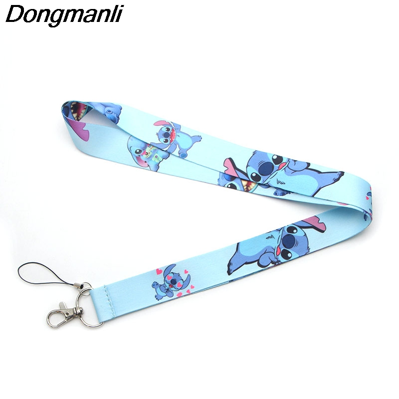 P2201 Dongmanli Cute Stitch Keychain Lanyards Id Badge Holder ID Card Pass Gym Mobile Phone USB Badge Holder Key Strap