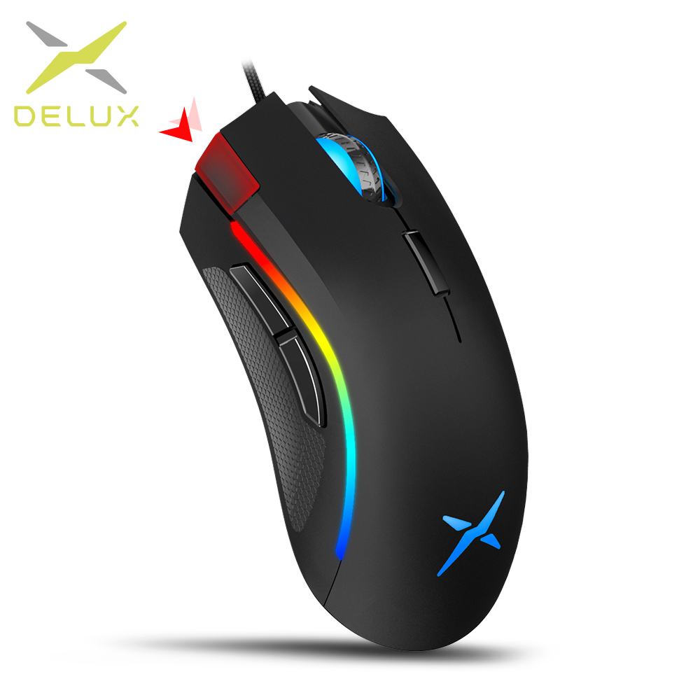 Delux M625 A3050 RGB Backlight Gaming Mouse 4000 DPI 7 Programmable Buttons USB Wired Mice For LOL Game Player For PC Laptop
