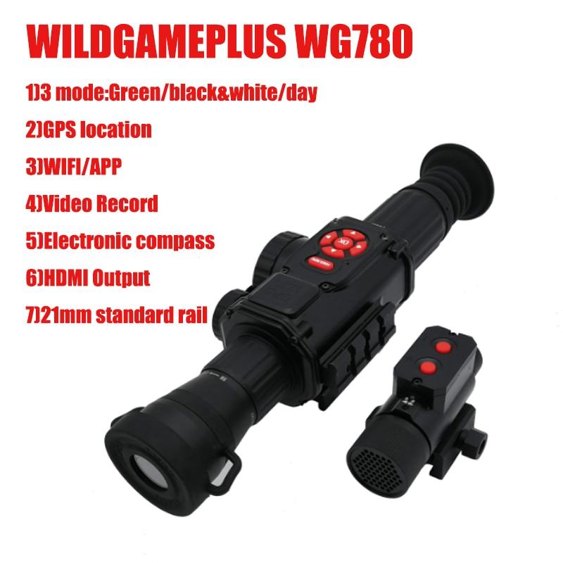 Champ de Vision nocturne de chasse WILDGAMEPLUS WG780 vert avec Wifi APP GPS suivi infrarouge IR Vision nocturne lunette de visée optique