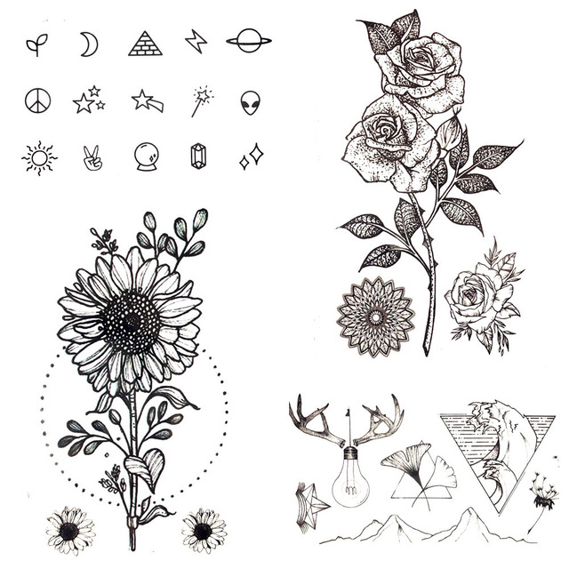 Sunflower Henna Tattoo: 10.5x6CM Sexy Women Hand Sunflower Small Fake Tattoo