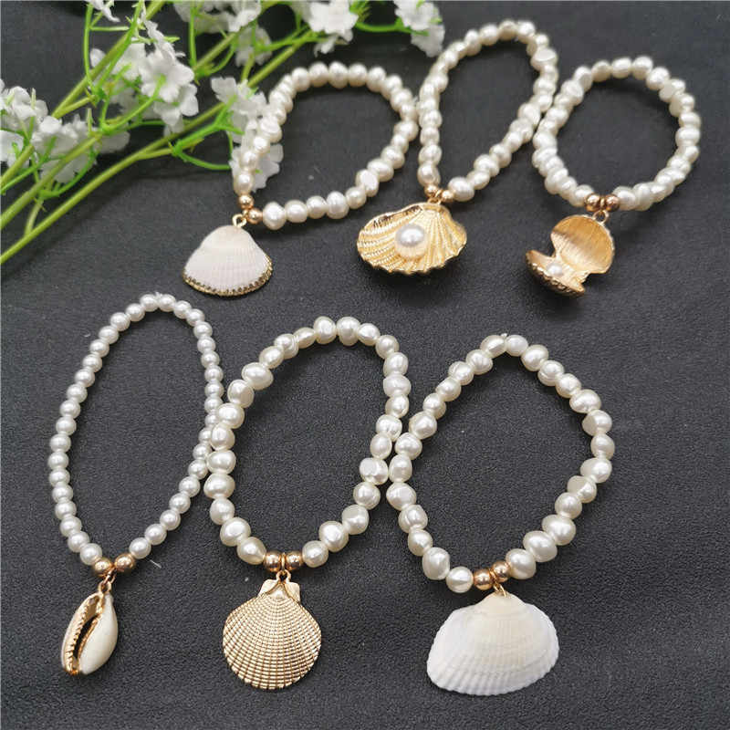 New Fashion Baroque Imitation Pearls Cowrie Shell Bracelet for Women Gold Color Chain Beads Charm Bracelet Bohemia Beach Jewelry