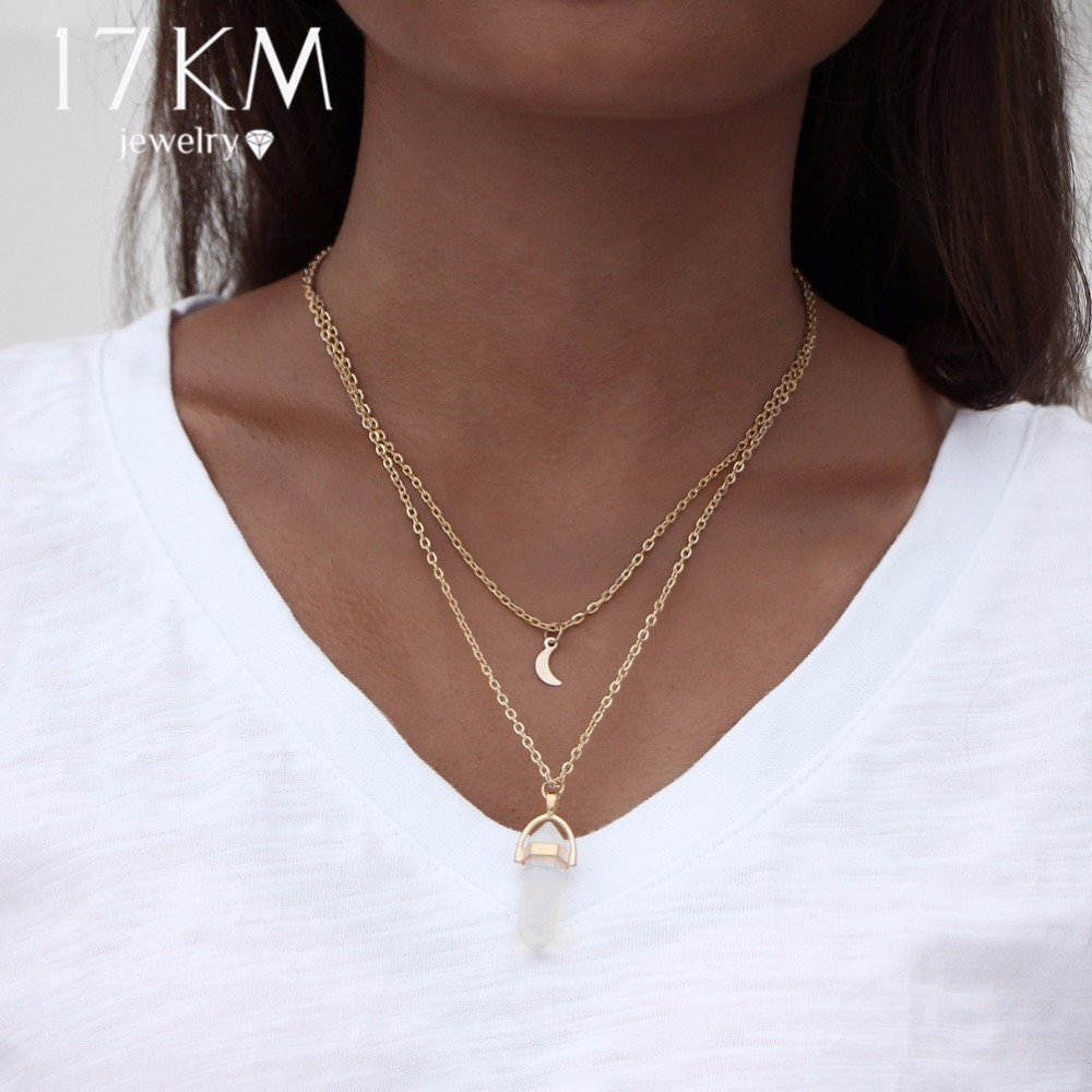 17KM Bohemian Opal Stone Moon Choker Κολιέ Νέα κολιέ - Κοσμήματα μόδας - Φωτογραφία 2