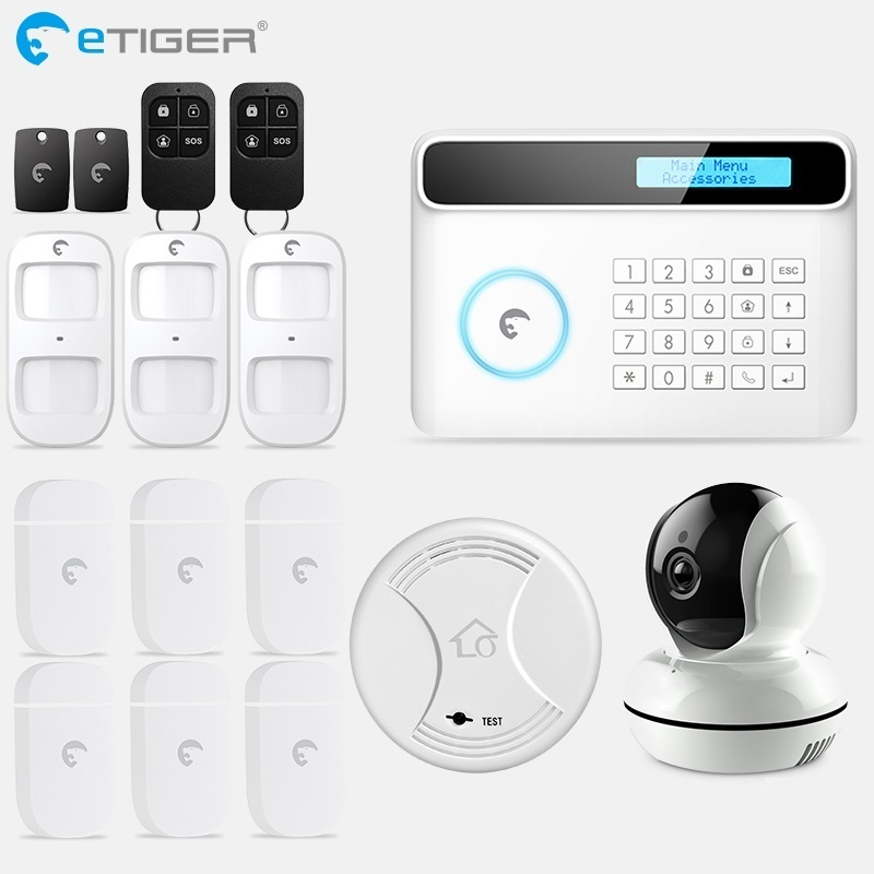 eTiger S4 GSM PSTN Alarm Wireless IOS/Android APP Home Burglar Security Protection Alarm System with PIR motion sensor bonlor wireless wifi gsm alarm system android ios app control home security alarm system with pir motion sensor ip camera smoke