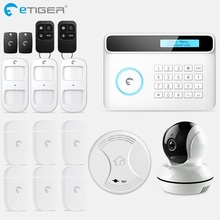 Chuangkesafe Wireless & Wired eTIGER GSM/PSTN Burglar Alarm System For Home/Office Wireless Keypad & Strobe Siren home security self defense pstn gsm sms alarm system led keypad sf 8016 16d led
