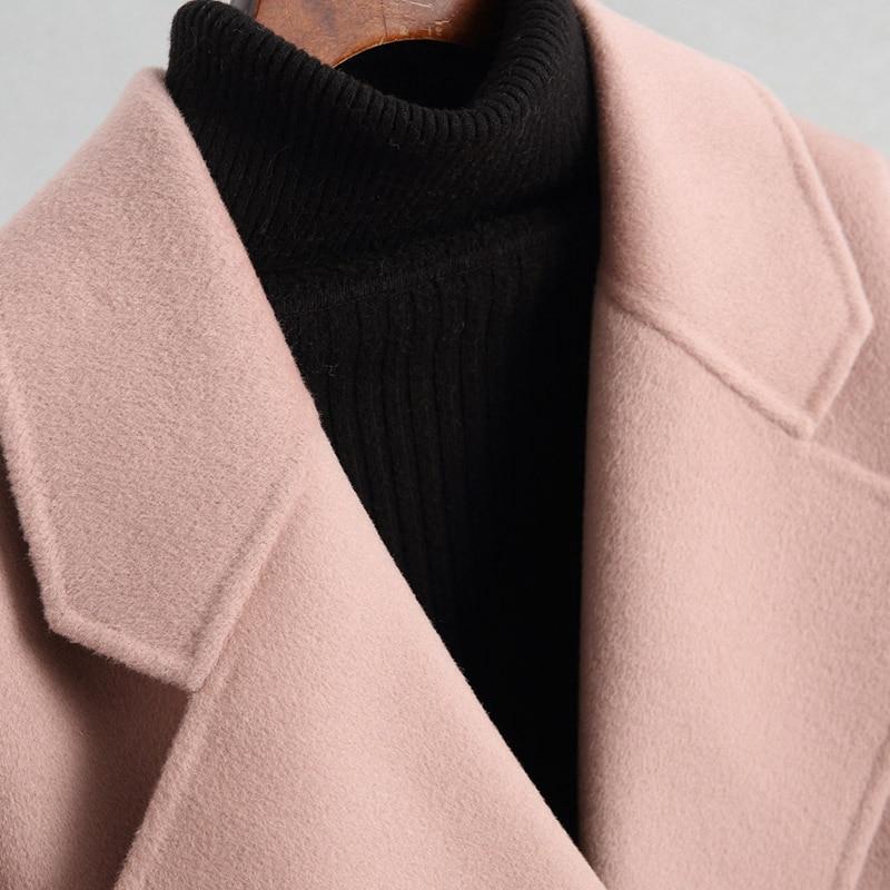 AYUNSUE 2019 Winter Fashions Vrouwen Wollen Jas Roze Kasjmier Vrouwelijke Jas Double Breasted Korte Wollen Jassen Bovenkleding 38007LW354 - 4