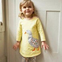 Baby Girls Dress Striped 2019 Brand Little Girls Dresses Animal Applique Tunic Costume for Kids Clothes Princess Dress недорого