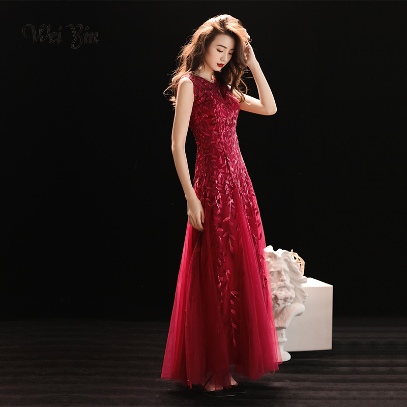 weiyin Wine Red Lace   Evening     Dresses   Long 2019 Sleeveless Zipper Elegant Robe De Soiree Abendkleider   Evening   Prom Party Gown