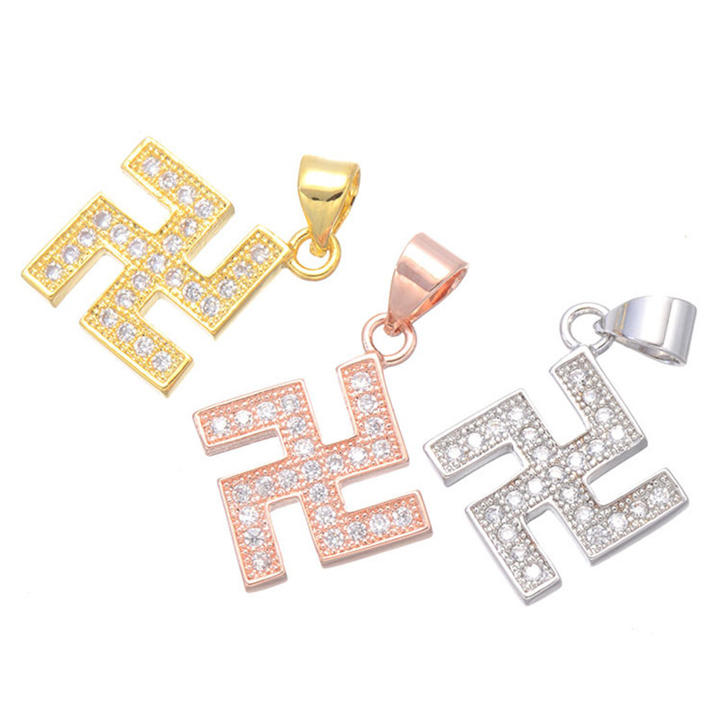 Buddhism Peace Symbol Charms Swastika Pendant For Necklace Jainism Hinduism Fine Lucky Symbol Jewelry Dropshipping CHF292
