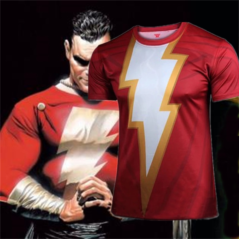 Movie Shazam Raglan Sleeve 3D Printed T shirts Men Compression Shirts 2019 NEW Arrivals Cosplay Costume Tops