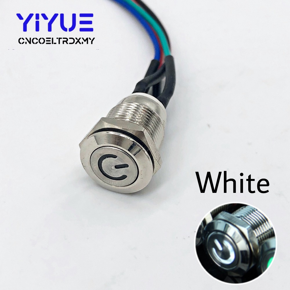 Metal Push Button Switch On-off With LED light 5V 12mm8