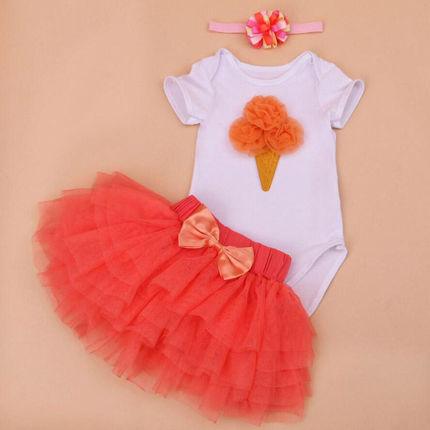 3PCs per Set 1st 2nd Baby Girls Birthday Outfit Romper Cream Orange Six-layers Jumpersuit Headband Shoes for 0-24Months