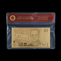 Thailand 20 Baht Gold Banknote Gold Plated Banknote With Plastic Sleeve