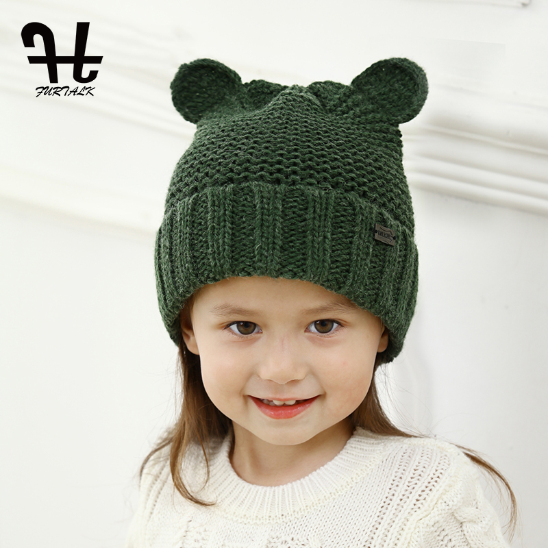 FURTALK children's winter wool knit   skullies     beanie   hat lovely baby ear hats for girls and boys