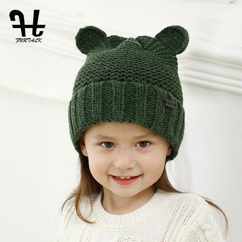 FURTALK children's winter wool knit skullies beanie hat lovely baby ear hats for girls and boys skullies