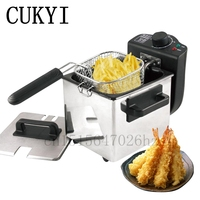 CUKYI 220V 240V household Electric Deep Fryers Stainless Steel wire drawing 1.5L Frying Machine 1000W big capacity