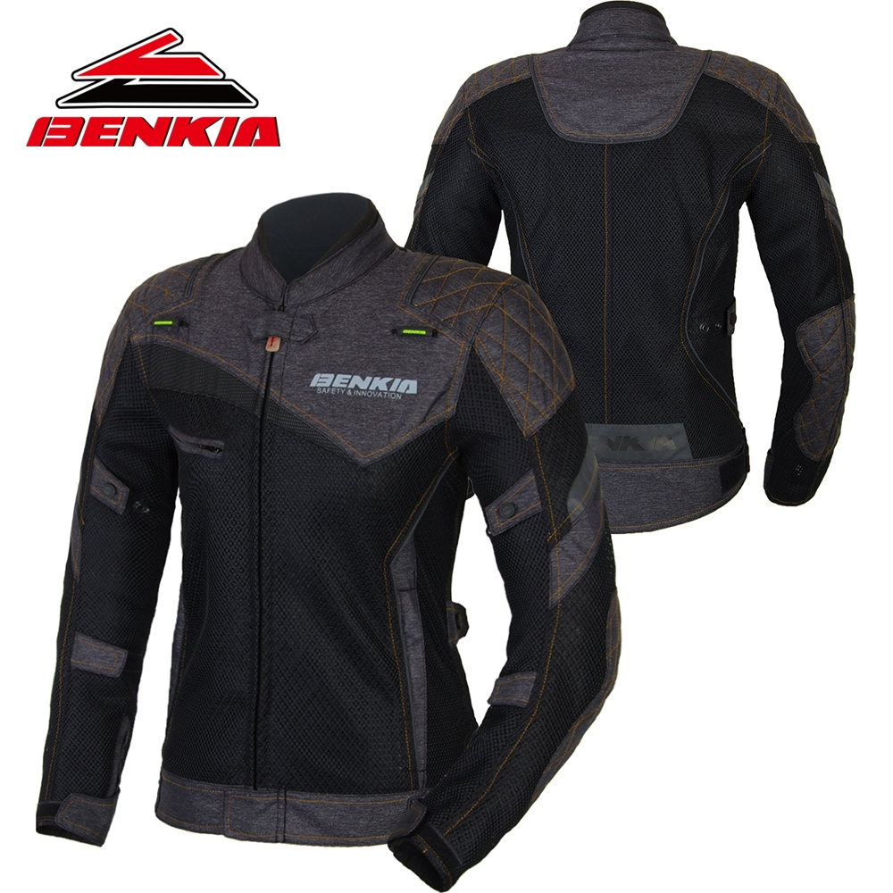 BENKIA Motorcycle Jacket Womens Motorcycle Suit Spring Summer Jacket Breathable Mesh Riding Clothes Ropa Moto Jackets JS-W11