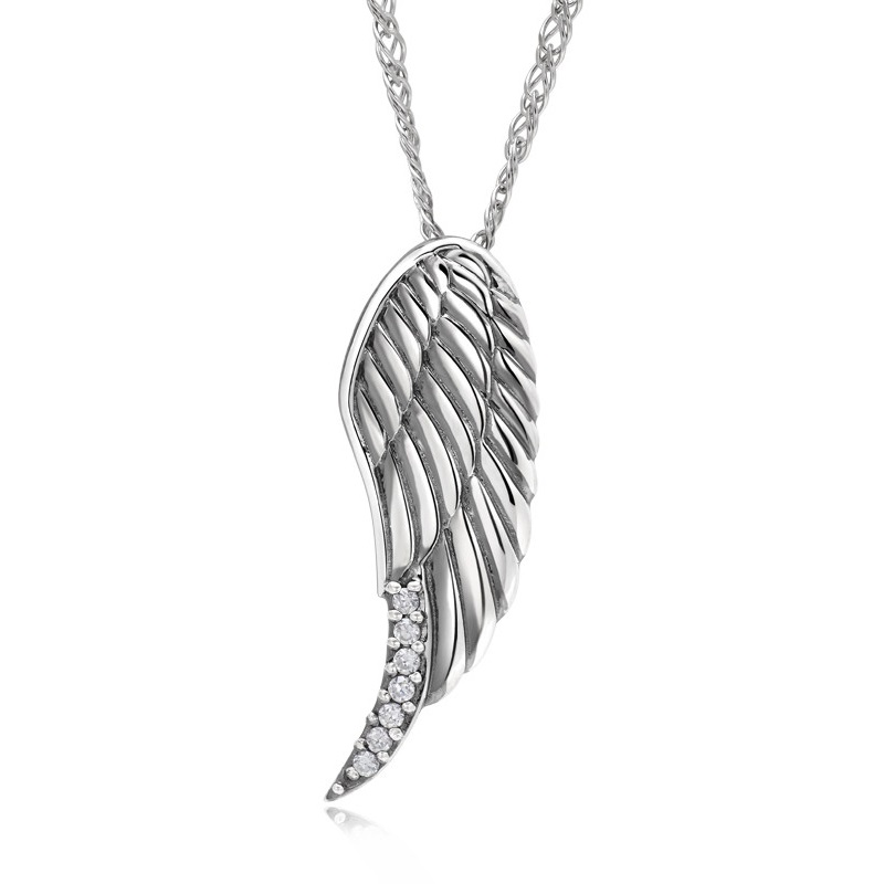 Angel wings 925 sterling silver couples necklaces pendants matching angel wings 925 sterling silver couples necklaces pendants matching set gift for anniversary birthday wedding valentines day in pendant necklaces from aloadofball Images