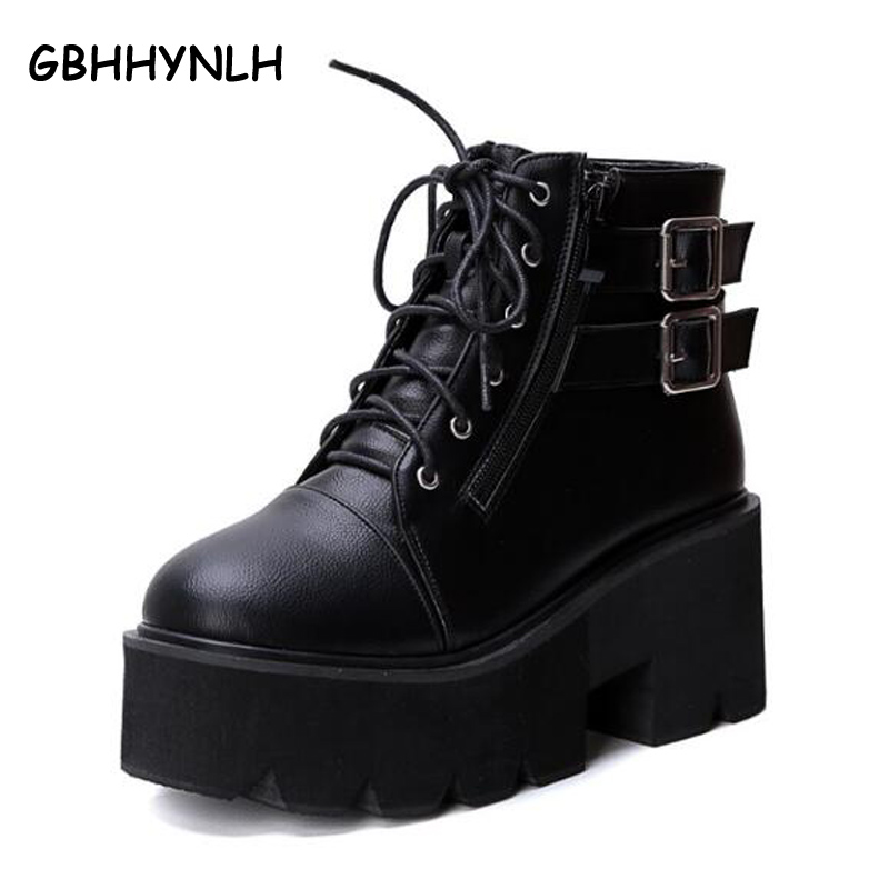lace up winter boots with fur women punk boots platform shoes woman wedges high heels ladies motorcycle women ankle boots LJA24 in Ankle Boots from Shoes