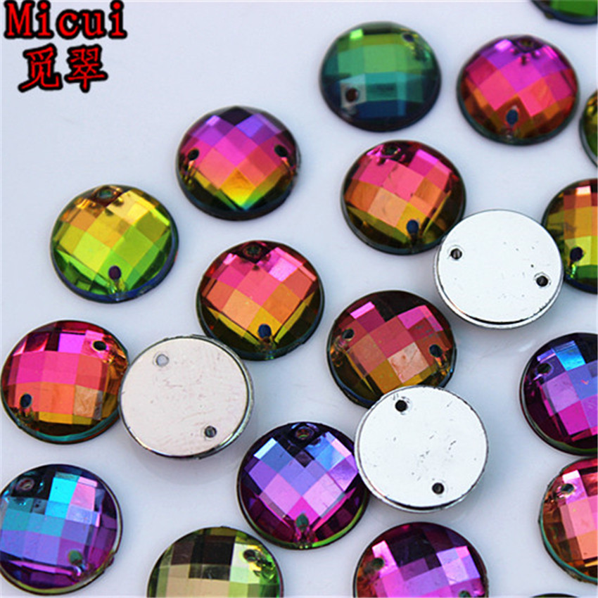Micui 100pcs 12mm Rainbow Color Round Acrylic crystal Rhinestones Beads For Sewing Wedding Bags Stones Accessores Sew on ZZ370B