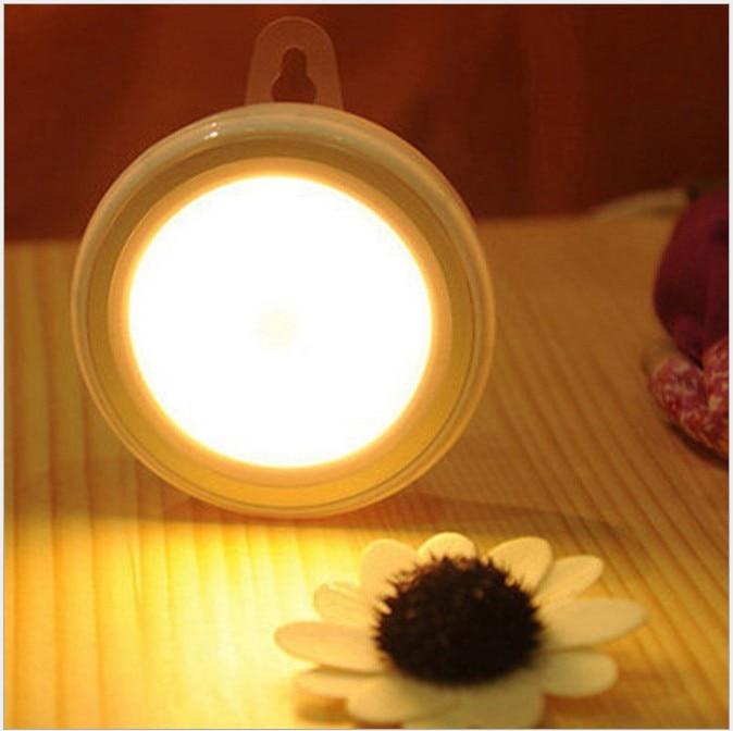 Leadleds Nowy Mini czujnik ruchu ciała światło USB Akumulator Led lampada inteligentny czujnik sterowania okrągłe światło nocne do sypialni