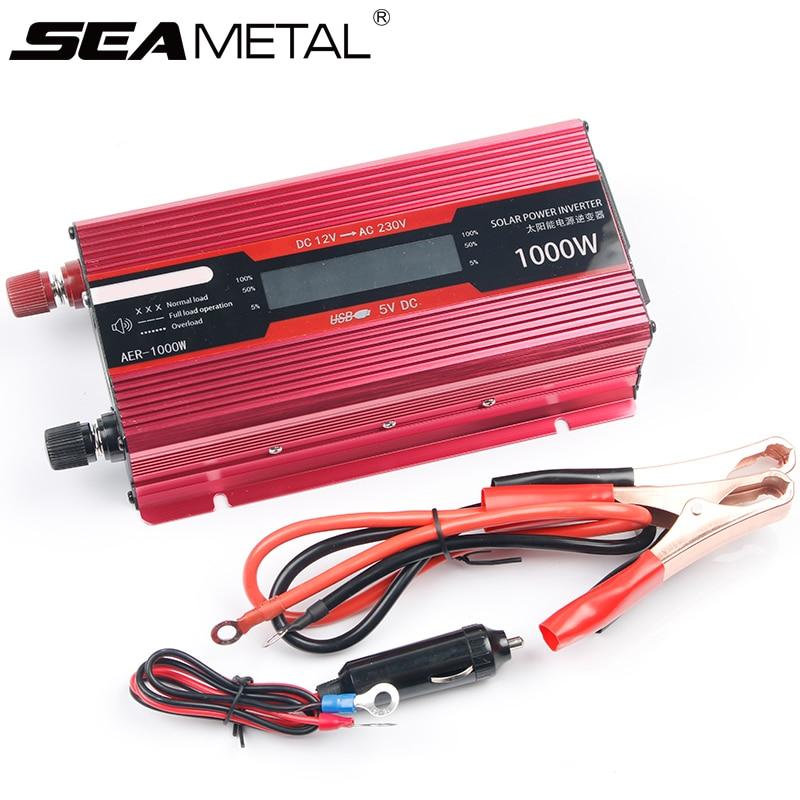 Voiture onduleur 12 v 220 v 2000 W tension transformateur convertisseurs onduleurs 12 220 1000 W solaire onduleur Auto USB chargeur adaptateur secteur